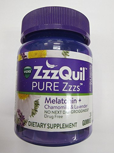ZzzQuil Pure Zzzs Melatonin Sleep Chamomile Lavender, 24 Gummies (Pack of 2)