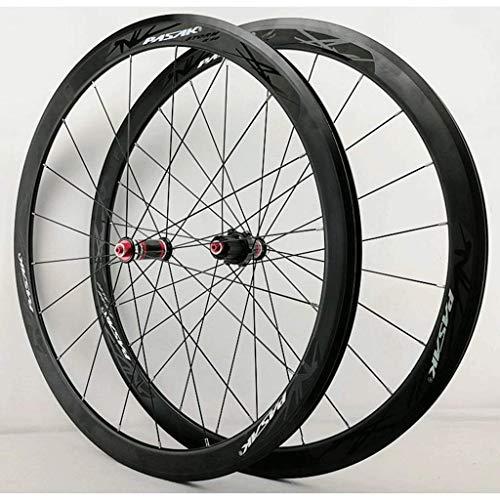 ZHTY Rueda de Bicicleta 700c Juego de Ruedas de Bicicleta de Carretera Llanta de aleación de Doble Pared 40 mm Freno de rodamiento Sellado C/V Juego de Ruedas de Bicicleta QR de 7-11 velocidades 🔥