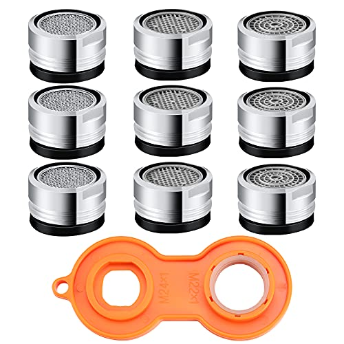 9 Pieces 2.2 GPM Sink Faucet Aerator Bathroom Dual Kitchen Aerator Replacement Parts Male Thread 15/16-Inch or 24 mm Adapter Filter with Gasket Wrench Mesh Nozzles Copper Faucet Aerator