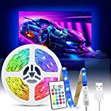 Tiras LED TV 2M, Tasmor Luces LED RGB 5050 Retroiluminación con Sincronización Música, Control Remoto, 16 Colores y 4 Modos, Tira LED USB para Television, PC, Habitación y Gaming