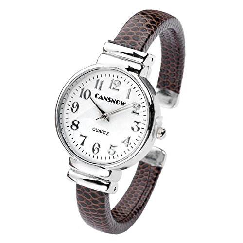 JSDDE Damen Armbanduhr Analog Quarz mit Schlage Haut Metall Armband Chic Manschette Spangen Kaffee