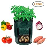 Garden4Ever Potato Planter Bags 2-Pack 7 Gallon Grow Bags Aeration Tomato Plant Pots with Flap and Handles