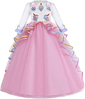 IZKIZF Girls Long Sleeve Unicorn Rainbow Princess Birthday Party Carnival Cosplay Costume Long Maxi Tulle Evening Gown