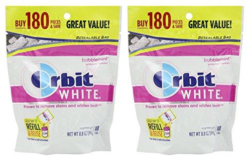 Orbit White Bubblemint Sugarfree Gum, 180 piece bag, 2 Pack