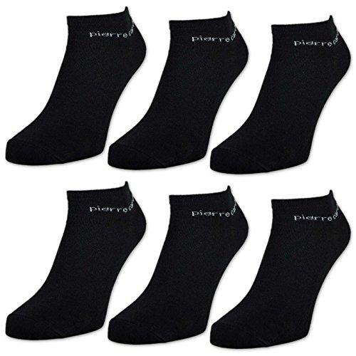 sockenkauf24 6 oder 12 Paar Pierre Cardin Sneaker Socken Herrensocken Baumwolle Schwarz (39-42, 6 Paar   Schwarz)