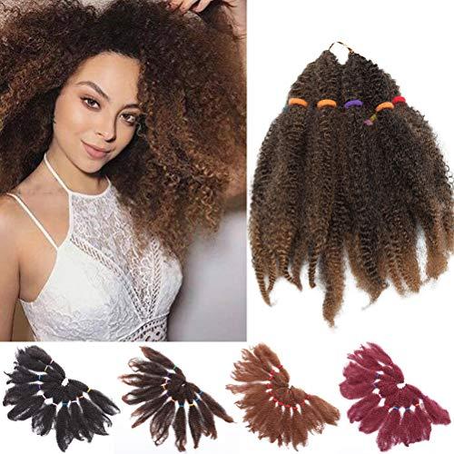 1 Pack 28cm Crochet cheveux Afro Kinky Curly Crochet Braids Extensions de cheveux Synthétique Jerry Curls Marley Braids Crochet cheveux pour les Femmes Mélange noir Marron café