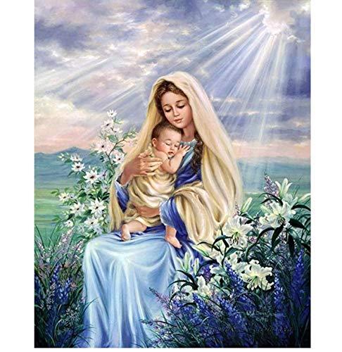 Diamante Pintura Virgen María Niños Religión Cristiana Jesucristo Diy 3D Diamante Bordado Amor Maternal Niño Regalos Religiosos-30x40cm