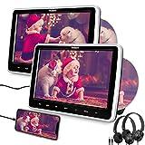 Naviskauto Lettore dvd da auto poggiatesta per bambini, con due cuffie, due schermi da 10.1...