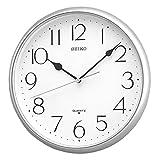 Seiko AmazonUkkitchen Reloj de Pared de Cuarzo con números arábigos, plástico, Plateado, 30 x 5 x 29.5 cm
