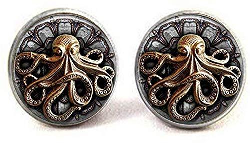 Pendientes de pulpo Steampunk con diseño de pulpo gótico