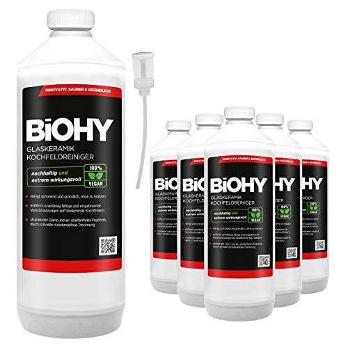 BIOHY keramische kookreiniger, 6 x 1 liter + doseerapparaat, voor stralend schone kookplaten, geschikt voor alle apparaten, Bosch & Siemens - geeft streepvrije glans
