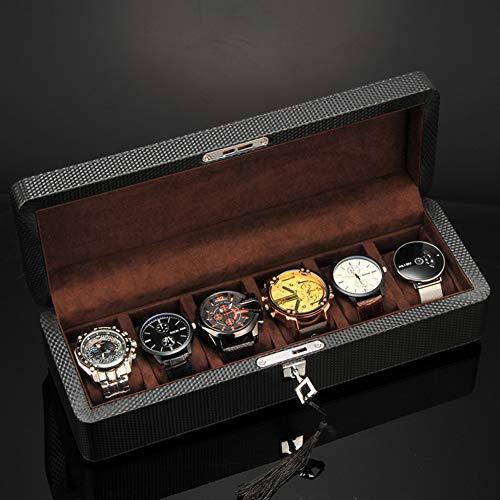TCpick Fibra di Carbonio Scatola Porta Orologi,Scatole di Orologio per Gli Uomini con 6 Slot Rivestimento in Velluto Sostenibile Watch Box