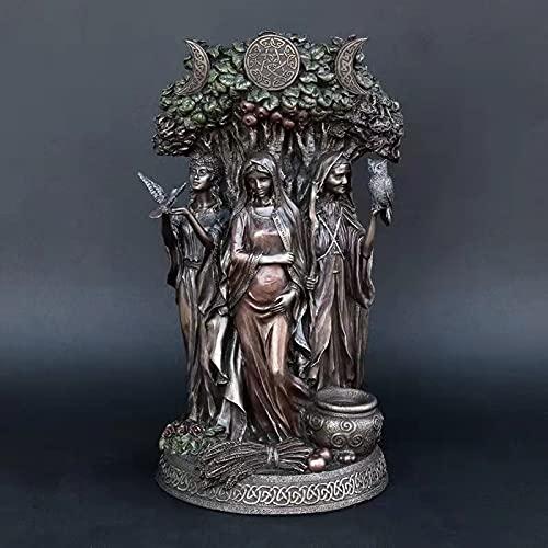 Dheera The Triple Goddess Sculpture Celtic Sacred Moon Triple Goddess Mother Maiden Crone Under Tree of Life Statue Hecate Brigid Decor Garden Sculpture Decorative Figurine Cosmic 26cm