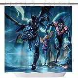 Batman Comics Duschvorhang, Marvel Superheld, maßgefertigt, wasserdichter Polyesterstoff, Duschvorhang für Badezimmer, Badzubehör mit Haken, 180 x 180 cm