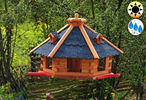 PREMIUM Vogelhaus, groß, XL mit Landebahn + LED - Beleuchtung/Licht + Bitumen, Massivholz,wetterfest, Gartendeko Vogelhäuschen,mit Silo, blaue Dachschindeln BGAL50blOS Bitumen
