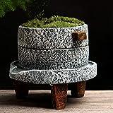 Vstylife Giardinaggio Piccolo mulino di pietra Creativo Cemento Vaso di fiori Asparagi Pianta verde Pianta in vaso Stand di fiori Famiglia coperta Retro piante grasse Contenitore