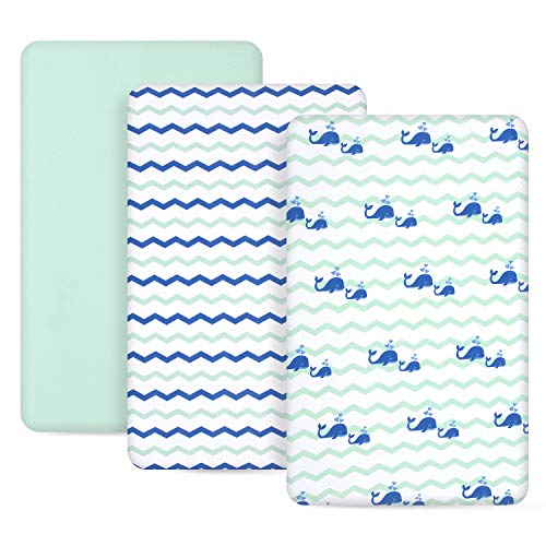 TILLYOU 3 Pack Jersey Knit Pack N Play Sheets, 170 GSM Thicker Softer Mini Crib Sheets Set Unisex, Ultra-Soft Breathable Playard Playpen Sheets, Ocean Theme