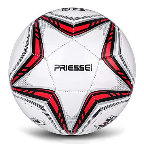 Priessei Balón de entrenamiento de fútbol tamaño 5 oficial para interiores y exteriores, pelota de fútbol profesional (estrella roja)