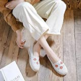 N&W Embroidered Shoes Sunflower Embroidered Women Canvas Espadrilles Vegan Handmade Ladies Slip on Flat Shoes Breathable Driving Loafers Old Beijing Embroidered Shoes (Color : White Size : 5 UK)