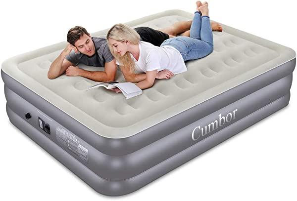 Cumbor Queen Air Mattress With Built In Pump Luxury Queen Size Inflatable Airbed With Air Coil Technology Elevated Raised Double High Air Mattress 80 X 60 X 18 Inches Grey
