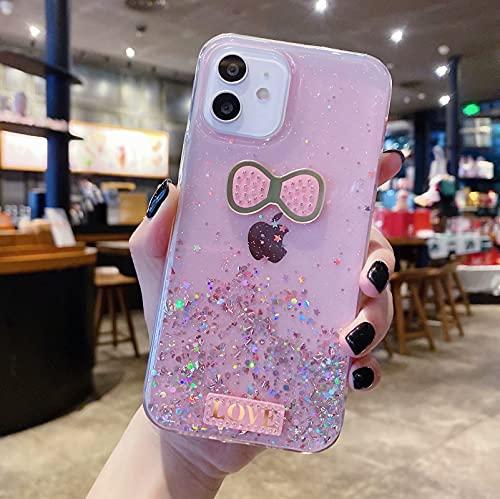 Miagon Crystal Glitzer Hülle für Samsung Galaxy S10e,Süß Bling Klar Handyhülle Durchsichtig Sparkle Sterne Case Cover Slim Dünn Schutzhülle,Bogenknoten Rosa