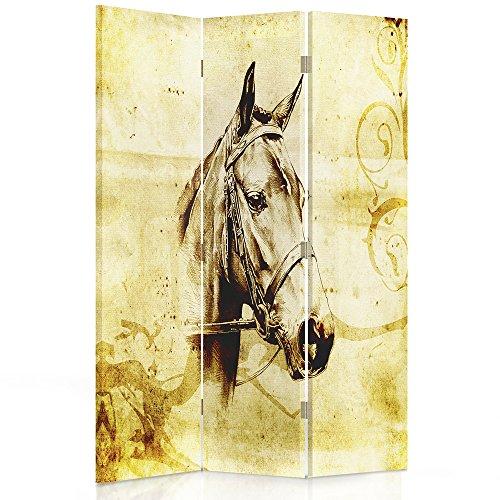 Feeby Frames. Roomdivider, gedrukt op canvas, linnen wandscherm, decoratieve scheidingswand, paravent eenzijdig, paravent tweezijdig, 3 of 4 stuks, paard, vintage, kop, oude ansichtkaart, Sepia 2-seitiger 110x150 cm