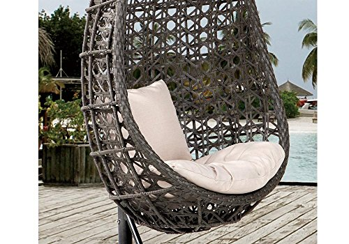 Destiny Hängesessel Coco, Kunststoff, grau, inkl. Sitz- und Rückenkissen 1 Stuhl, dunkelgrau - 2