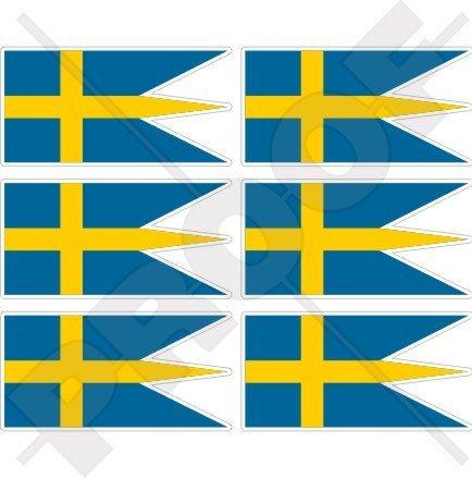 Suède Suédois drapeau Guerre Naval Ensign 40 mm (40,6 cm) Téléphone Mobile Mini en vinyle autocollants, Stickers x6