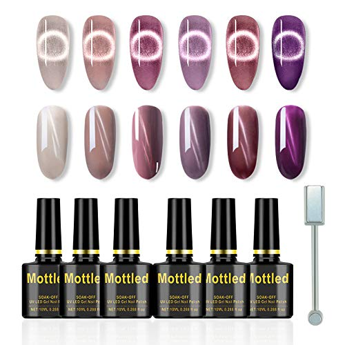 Freeorr 6 Farben Cat Eye Nagellack Set, Klassisches Chamäleon Magnetgel Nagellack 3D Gel Polish Soak Off UV-Gel,mit 1 Magnet Stick-10ml