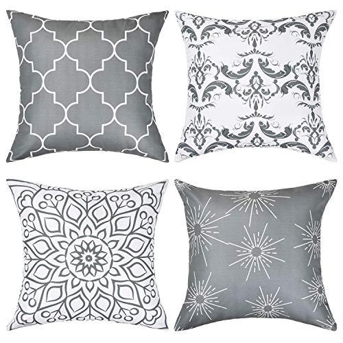 Genfien Funda Cojines Decorativos 4Pcs Almohadas Decorativas Cama Sofa Moderna para Habitación Silla Coche,18 x 18 Pulgadas