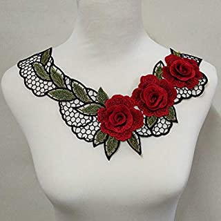 Red 3D Red Embroidered Fabric Rose Flower Venise Lace Sewing Applique Lace Collar Neckline Collar Applique Accessories