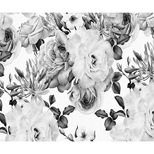 decomonkey Fototapete Blumen 400x280 cm Tapete Wandbild Bild Fototapeten Tapeten Wandtapete Wand Schlafzimmer Wohnzimmer Rose schwarz-weiß