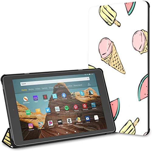 Case For Ice Cream And Dots Cute Tasty Colorful Fire Hd 10 Tablet (9th/7th Generation, 2019/2017 Release) Kindle10CasesAndCovers FireHdTablet10Case Auto Wake/sleep For 10.1 Inch Tablet