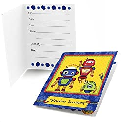 You're invited robot birthday card invitations.