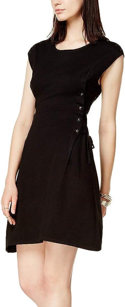 bar III Womens Lace-Up Sweater Mini Dress