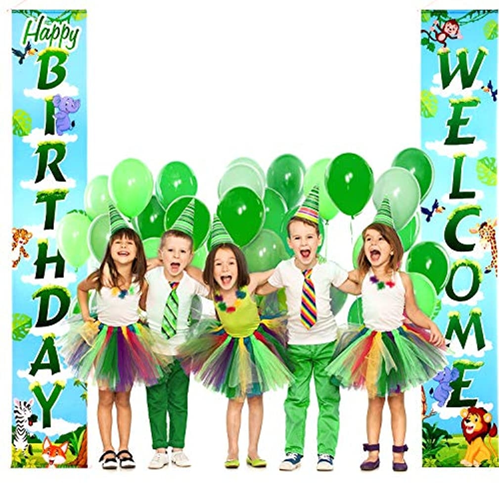 Jungle Animals Decoration Set Forest Theme Birthday Porch Sign Welcome Green Banner Hanging Decoration for Jungle Animals Leaves Party Baby Shower Festival Party Nursery School Classroom Bedroom
