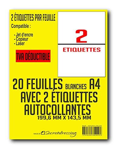SECRETDRESSING ® - 20 planches A4 de 2 étiquettes A5 B5 = 40 étiquettes autocollantes papier adhésif blanc - 199,6 x 143,5 mm - Colissimo, mondial relay, expédition, adresse - (L7168) TVA DEDUCTIBLE