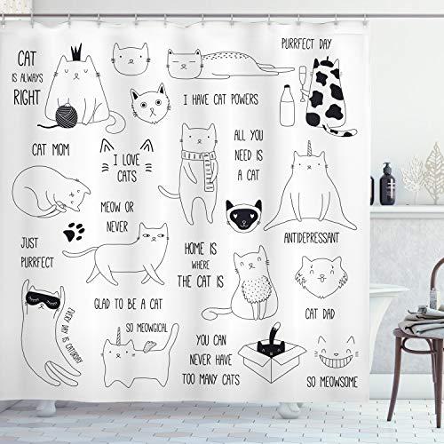 ABAKUHAUS Katzen Duschvorhang, Katze ist Immer Recht Saying, Wasser Blickdicht inkl.12 Ringe Langhaltig Bakterie & Schimmel Resistent, 175 x 200 cm, Dunkelbraun Weiß
