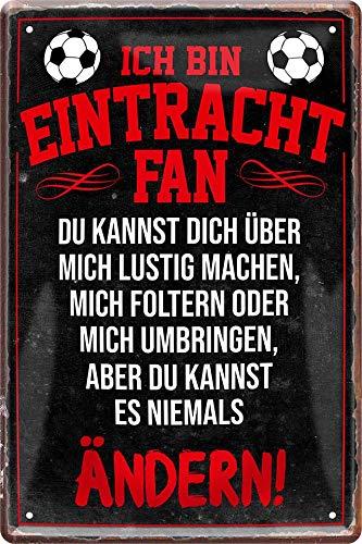 Blechschilder Hier wohnt EIN Eintracht Fan/Offizieller Eintracht Fan/Ich Bin Eintracht Fan Deko Metallschild Schild Artikel Geschenk zum Geburtstag oder Weihnachten (Schwarz (20x30))