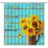 """Duschvorhang mit Sonnenblumen-Motiv, rustikaler Sonnenblumen-Stil, mit lustigem Zitat """"Today is a Good Day"""", aus Holz, kreativ, modern, 178 x 178 cm, mit Haken"""