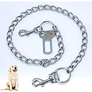 Formwindog Metal Chain Dog Seat Belt for Car Safety for Dogs Cat Car Seat belts Safety Leash Leads Harness Universal for Cat Dog Seatbelts Cars 75cm:Tourlombok-piranti