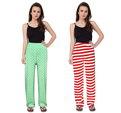 Fflirtygo Assorted Cotton Printed Track Pant/Pocket Payjama (Pack of 2 Pcs)/Lounge Wear –Soft Cotton Night Wear/Pocket Pyjama for Women Combo Pack, Prints May Vary (Assorted Pyjama)
