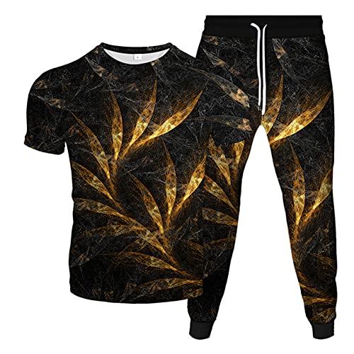Camiseta Casual De Primavera Y Verano + Pantalones De Dos Piezas Impresión Digital 3D Elemento Floral Traje Deportivo Al Aire Libre 3D 5 6XL