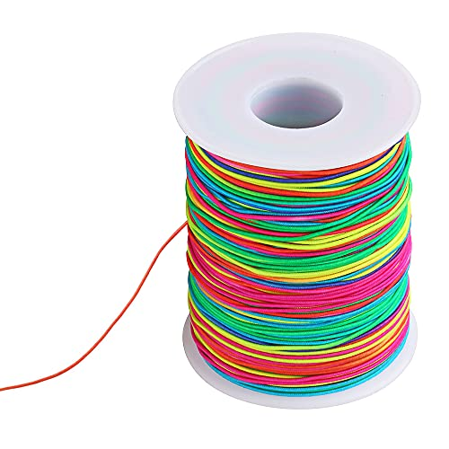 WISETOP 85m Elastic Rope, Colored Elastic Rope, Rainbow Bead Rope, Used for Bracelets, Necklaces, Crafts, Children's handicrafts, Beaded and Other Small Elastic Ropes