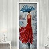BARFPY Pegatinas de puerta en 3D Vista trasera, de, niña, en, vestido rojo Creativo mural de puerta Vinilo Autoadhesivo Removible Papel Tapiz Impermeable Posters para Cocina dormitorio Sala de Baño D