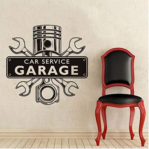 58x57cm Reparaturwerkstatt Wandaufkleber Autoservice Garage Wörter Zeichenschlüssel Gekreuzter Motor Abnehmbare Inneneinrichtung Vinyl Wandtattoos