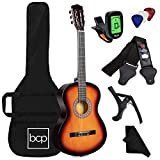 Best Choice Products 38in Beginner All Wood Acoustic Guitar Starter Kit w/Case, Strap, Digital Tuner, Pick, Strings - Sunburst