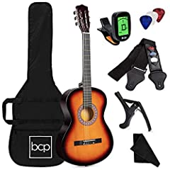 COMPLETE ALL-IN-ONE GUITAR KIT: No need to purchase any additional accessories, this all-inclusive set comes with an e-tuner, case, black strap with pick holder, extra strings, 6 picks, capo, cloth ULTIMATE BEGINNER & INTERMEDIATE GUITAR: This handcr...