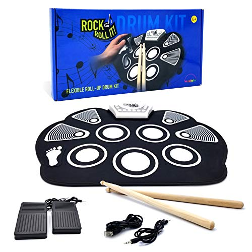 MukikiM Rock And Roll It - Drum. Flexible, Completely Portable, battery OR USB powered, 2 Drum Sticks + Bass Drum & Hi hat pedal included! -  MUK-W758M