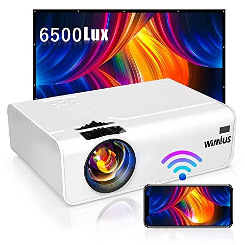 WiMiUS プロジェクター 6500lm 小型 WiFi ホームプロジェクター 1920×1080P最大解像度 HIFIスピーカー ズーム機能 USB HDMI AV VGA対応 スマホ パソコン タブレット ゲーム機 DVDなど接続可能